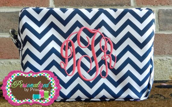 Navy & White Chevron Monogrammed Makeup Bag by PersonalizedbyPriss, $25.00