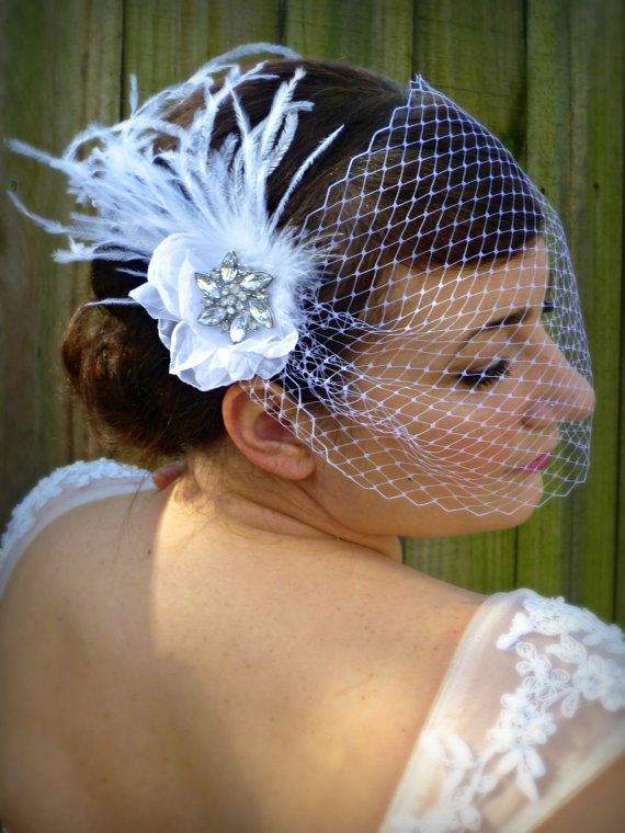 Bridal Veil - Bandeaux, blusher bridal veil with ostrich feathers - The Giovanna on Etsy, $68.00