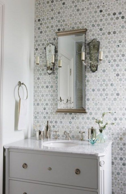 Bathroom Wallpaper Accent Wall Half Baths