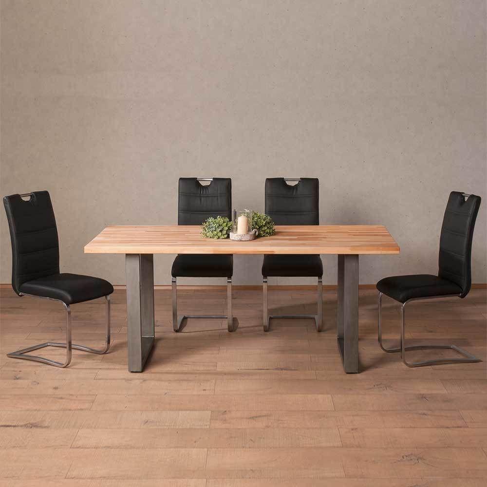 esstisch mit st hlen aus buche massivholz edelstahl schwarz kunstleder 5 teilig jetzt. Black Bedroom Furniture Sets. Home Design Ideas
