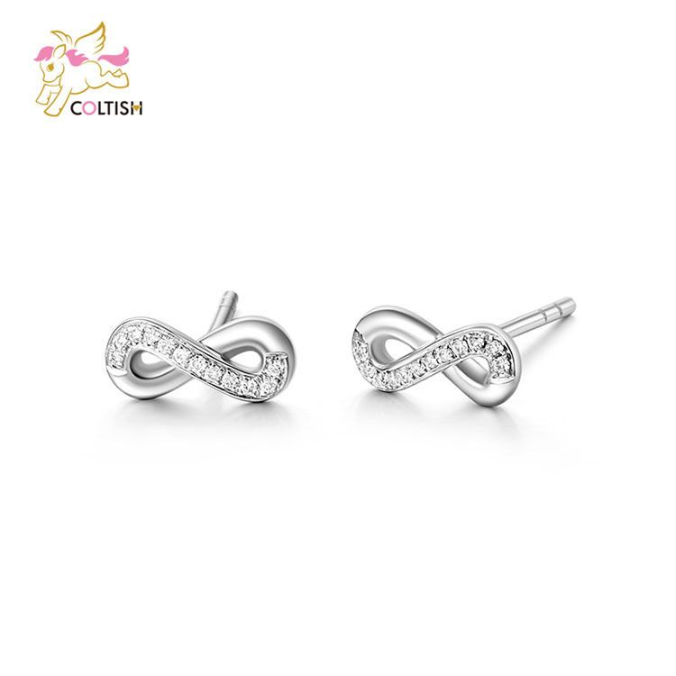 Infinity Stud Earrings 18k White Gold Cubic Zircon Sterling Siver Wedding Jewel