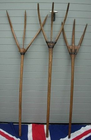 Antique Wooden Hay Pitchfork Mixed Medley Outdoors Pitch Forks