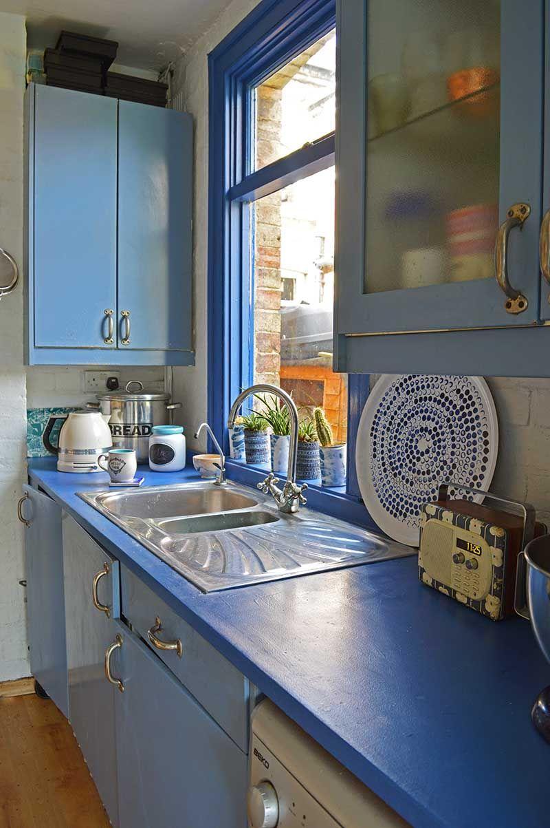 Painted kitchen worktops by Pillar Box Blue