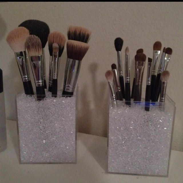 Makeup brush holders with acrylic boxes \u0026 vase filler! Super