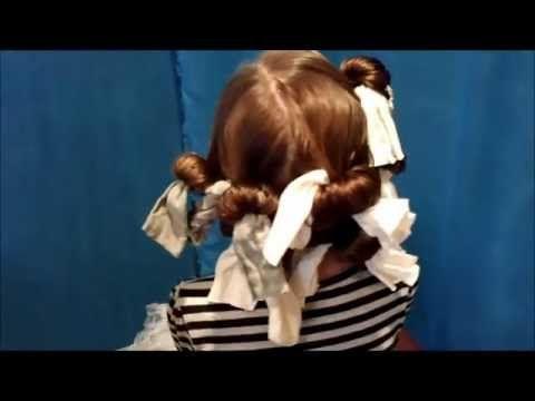 Rag curls with socks.
