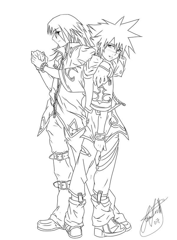Riku X Sora Lineart Colouring Pages Kingdom Hearts Sora
