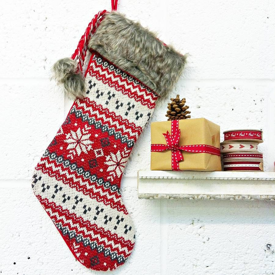 Nordic Snowflake Christmas Stocking | Christmas | Pinterest