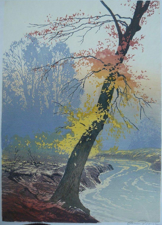 ✨ Oscar Droege (1898-1983) - Herbstlicher Baum am Fluss, Farb-Holzschnitt, rechts unten in Blei signiert, 42,0 x 29,0 cm ::: Autumnal Tree at River, Colour Woodcut, signed in pencil