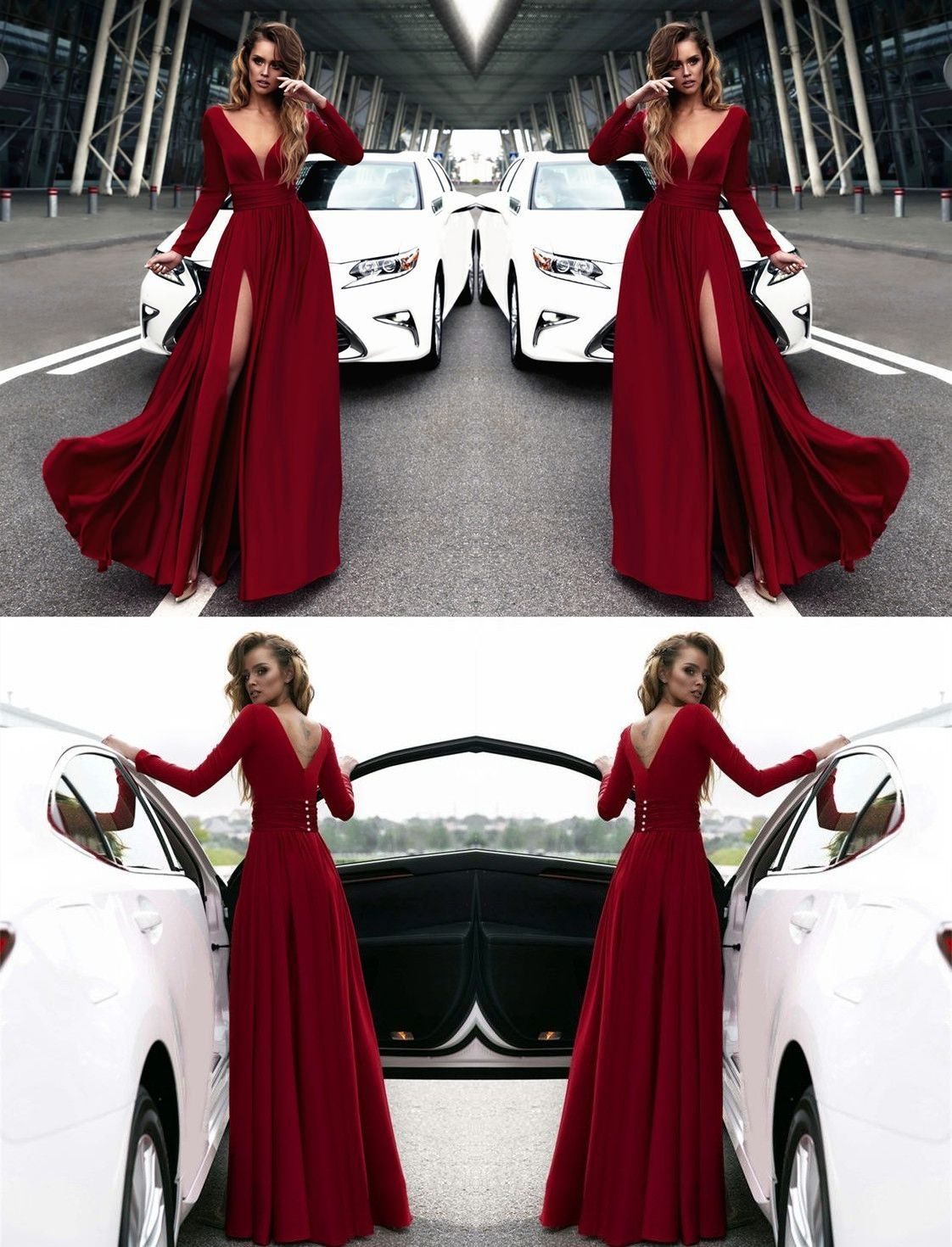 V neck long sleeves red prom dress with side slit my favorite