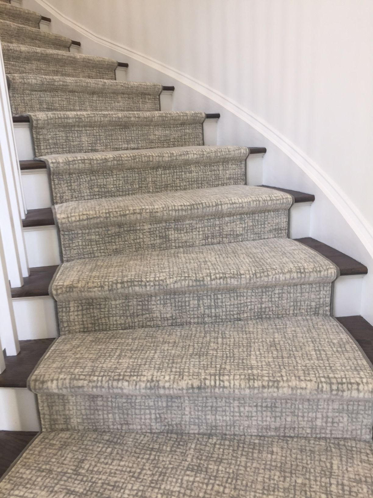 Install Of Carpet One Curved Staircase Runner With Standard Binding We Tackle All Projects Stair Runner Carpet Patterned Stair Carpet Carpet Staircase