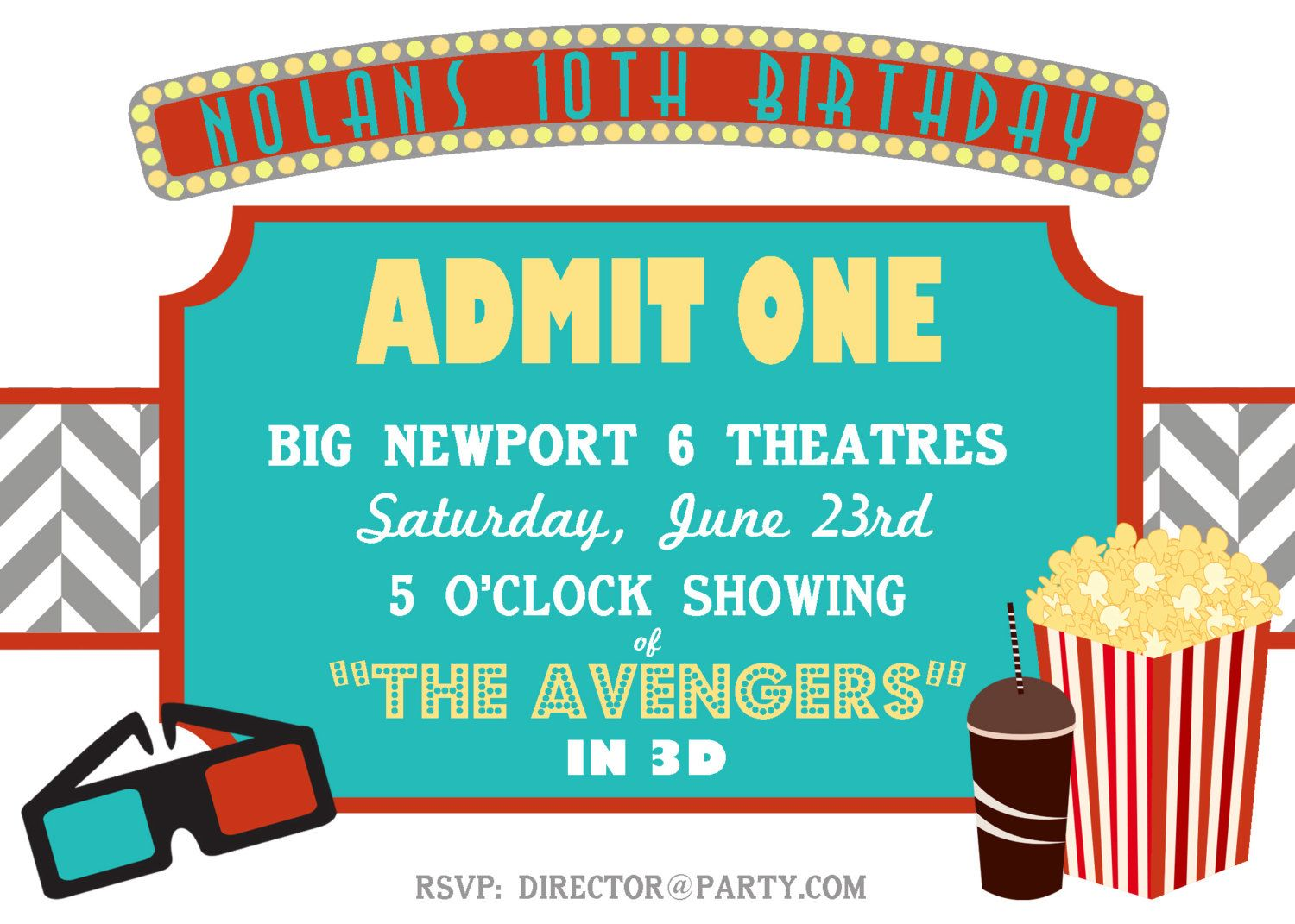 Movie Theater Party Invitation - Cinema and Theatre - Party Supplies ...