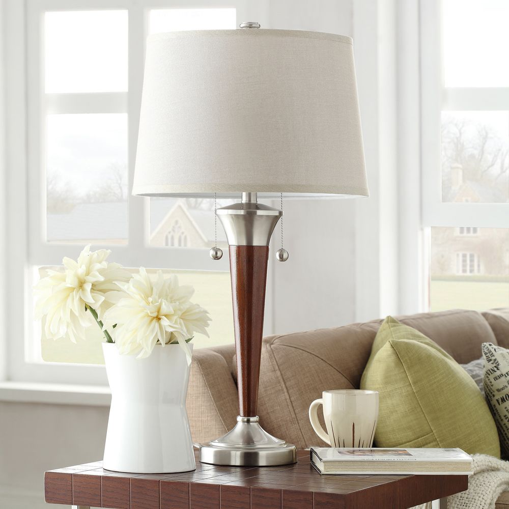 Inspire Q Kohala Brushed Nickel Contoured Base 2 Light Accent Table Lamp |  Overstock.