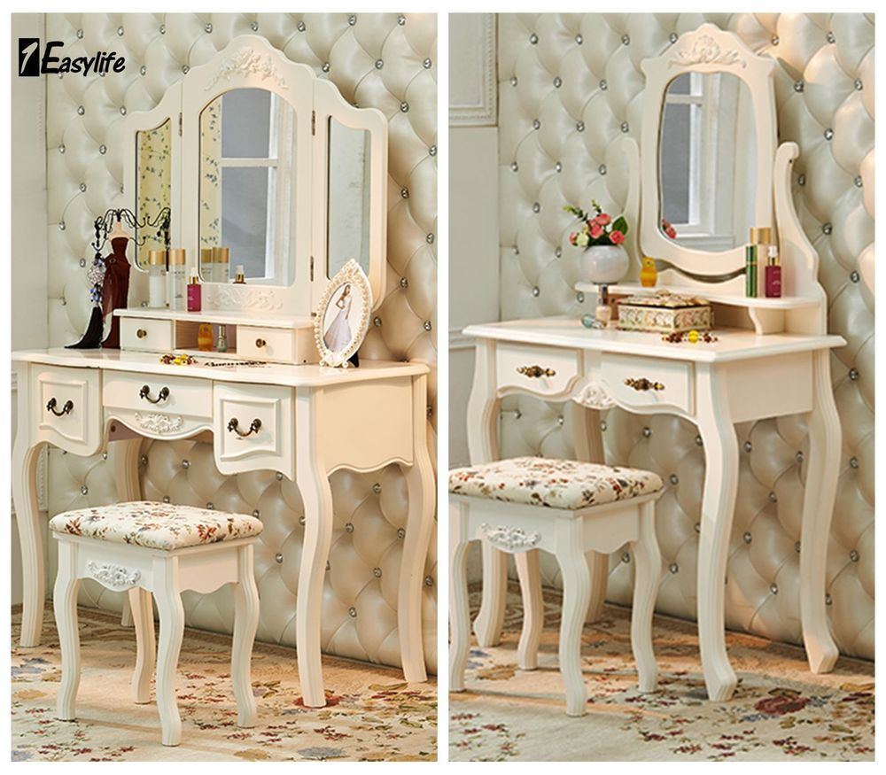 Shabby Chic Ivory White Dressing Table Set Stool Mirror French Style Bedroom French Style Bedroom Shabby Chic Dressing Table White Dressing Tables
