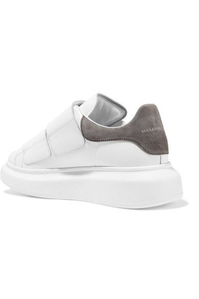 3a095e2be Alexander McQueen - Suede-trimmed Leather Exaggerated-sole Sneakers - White