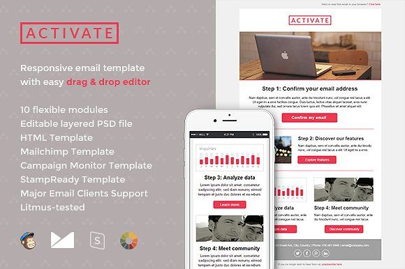 Activate Email Template + Builder by Digico on @creativemarket ...
