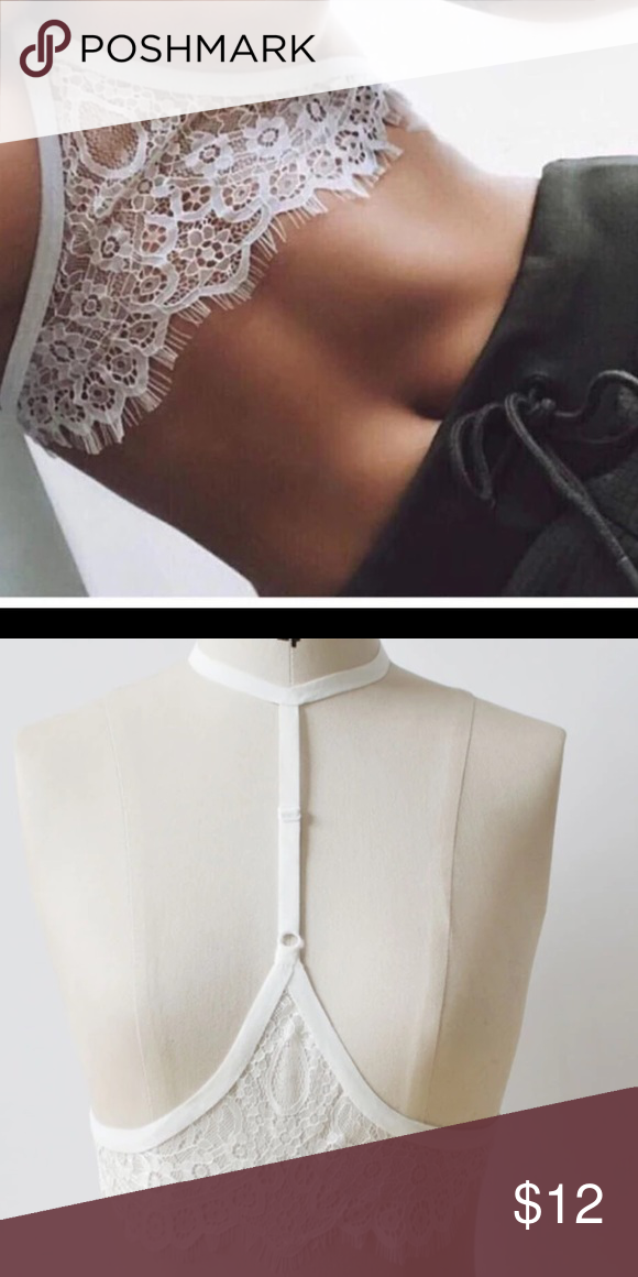 d03941f7cc436 NWT white lace sexy harness bra strap choker Very cute and sexy. Also have  in black discount on bundles