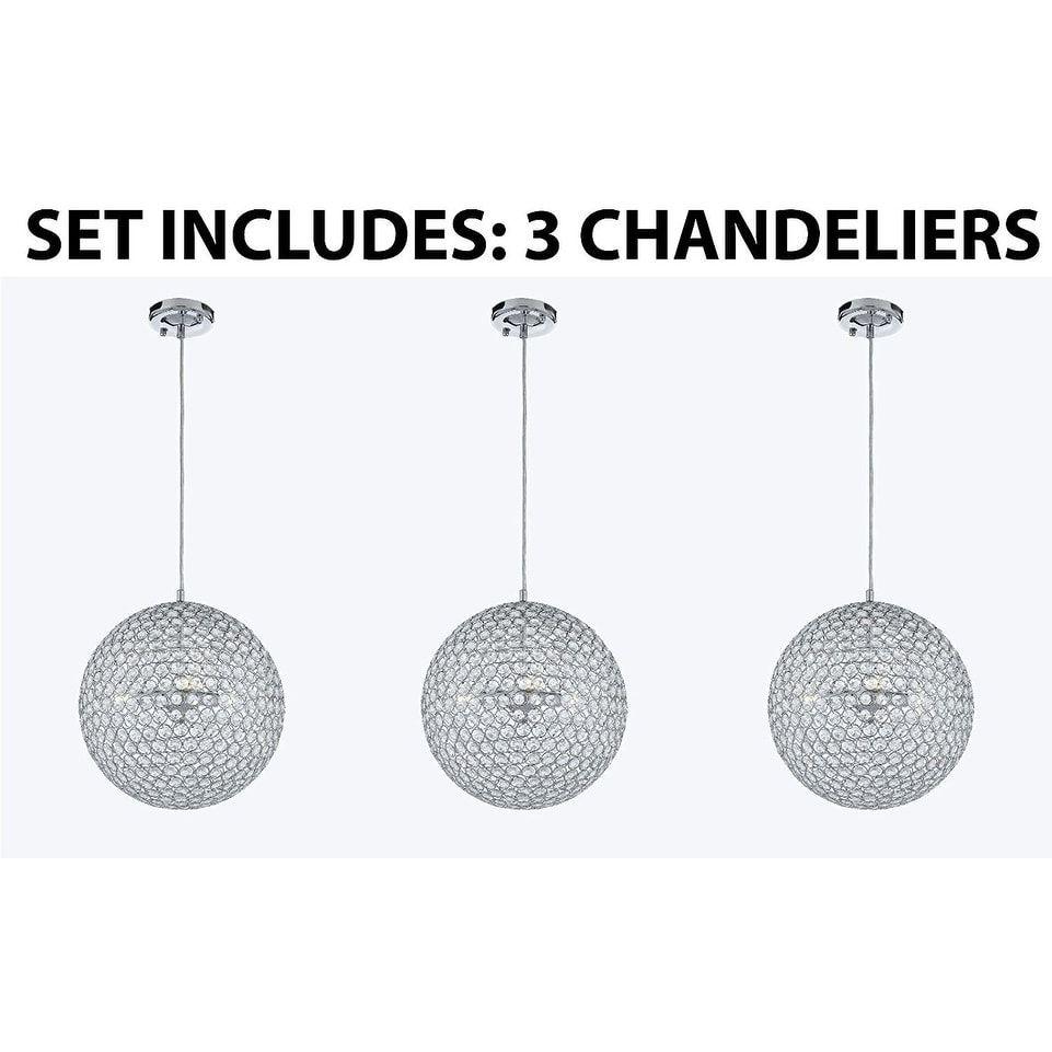 Set of modern contemporary crystal pendant chandelier lighting