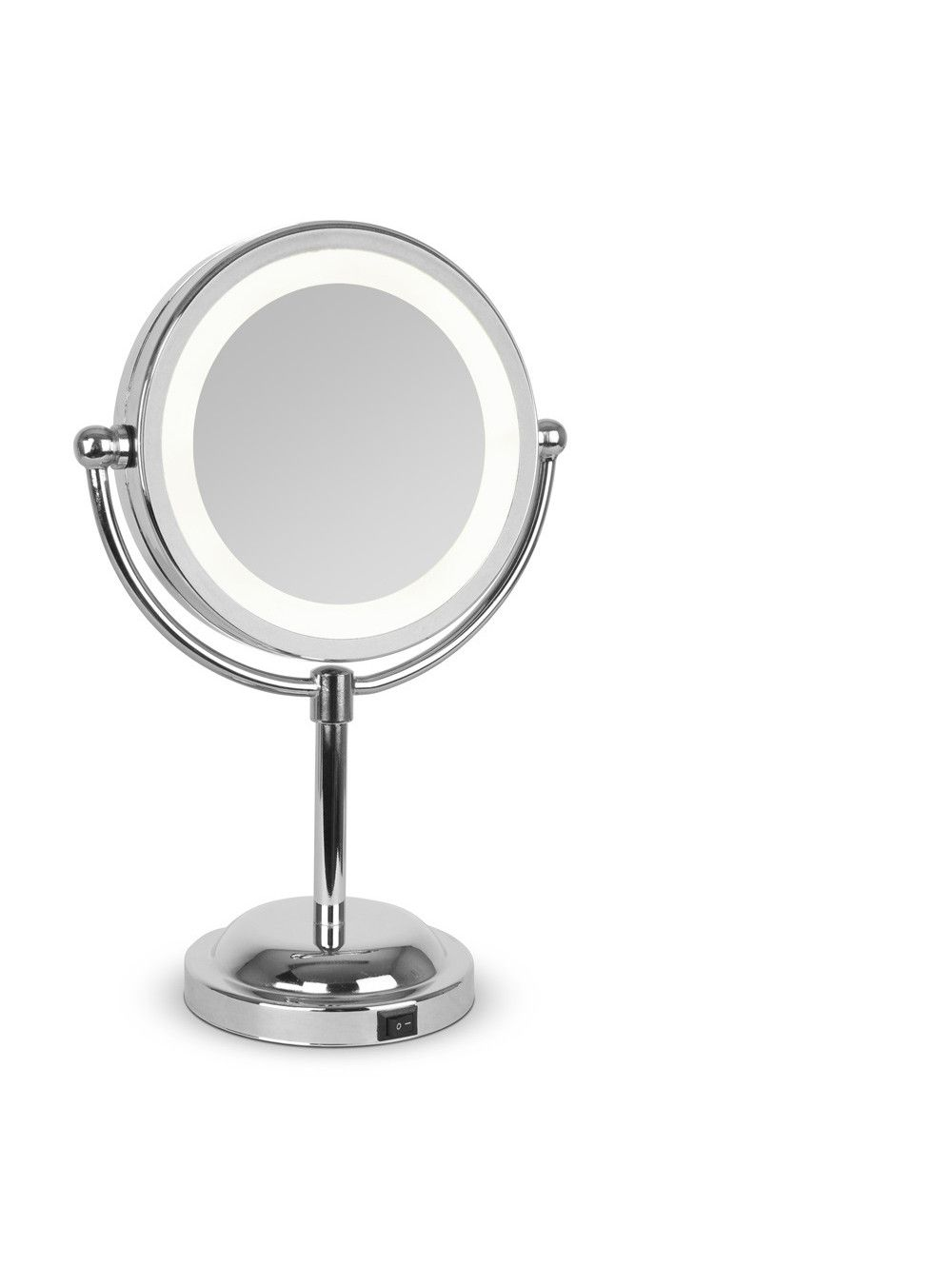 Round Chrome Free Standing Light Up Mirror Circle Light Mirror Mirror Table Mirrors For Makeup