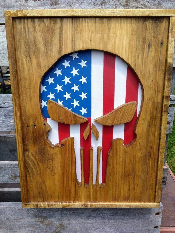 e100b6fdf85 Wood Punisher Wall Hanging - American Flag - Punisher Skull - Wood Punisher  Skull - Wood Decor