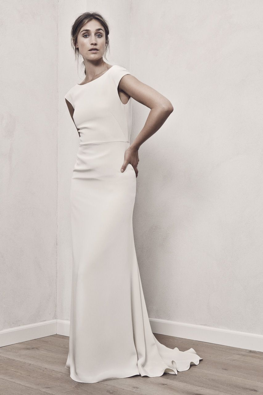 Classic sheath wedding with buildin cap sleeves in luxurious