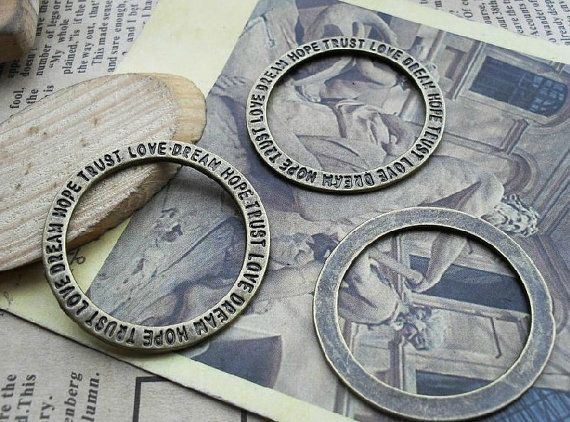 20pcs 35mm The hope love trust  round Antique Bronze  by Agoni, $3.98