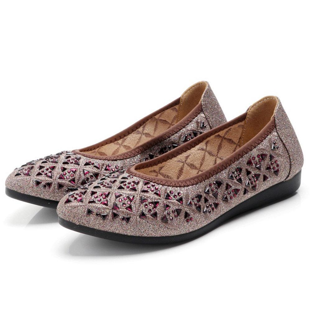 Wedding Shoes Zippay: Rhinestone Almond Toe Slip On Lady Comfortabel Flat Casual