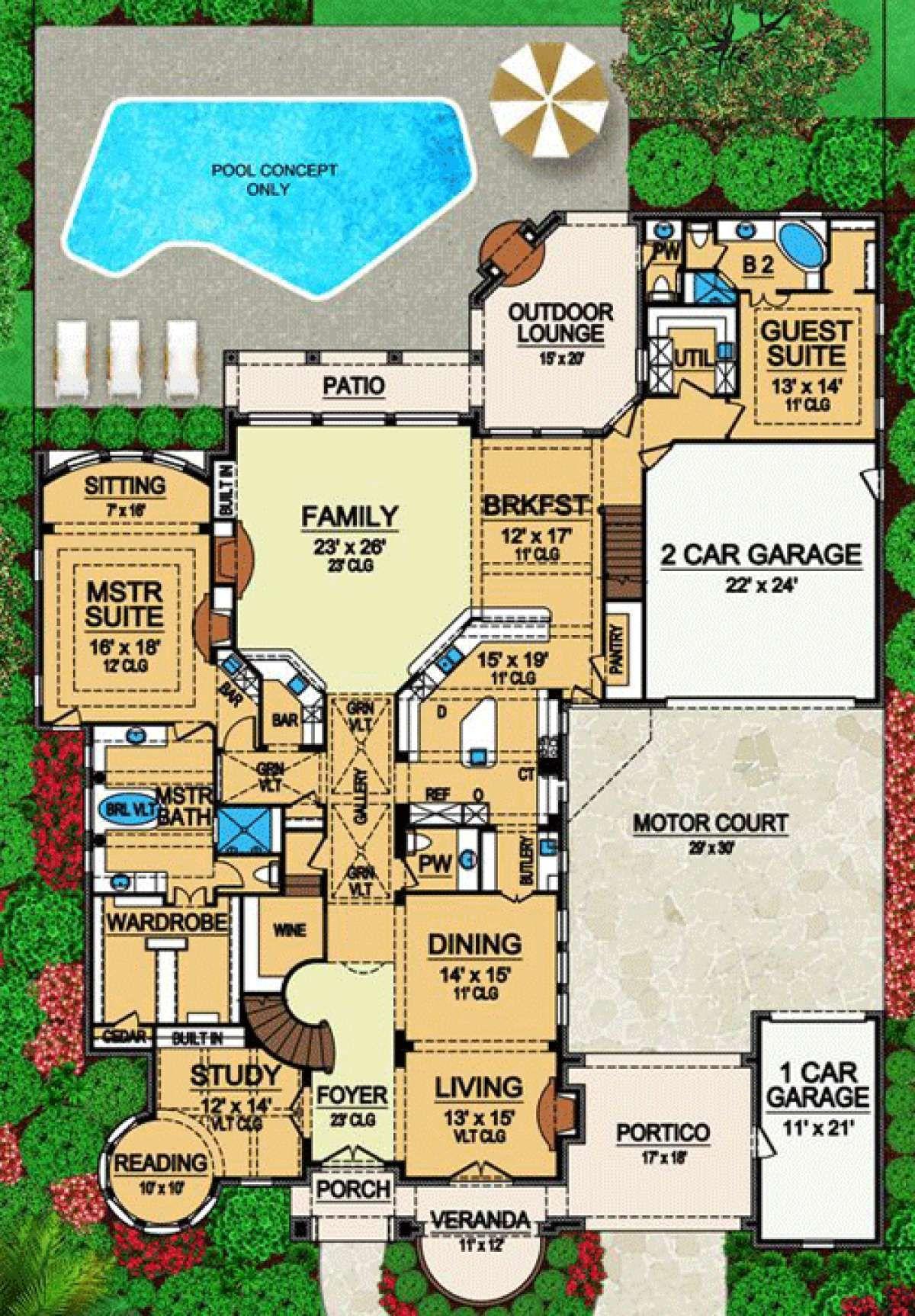 House Plan 5445 00083 European Plan 6 065 Square Feet 5 Bedrooms 6 5 Bathrooms In 2020 Courtyard House Plans Courtyard House House Blueprints