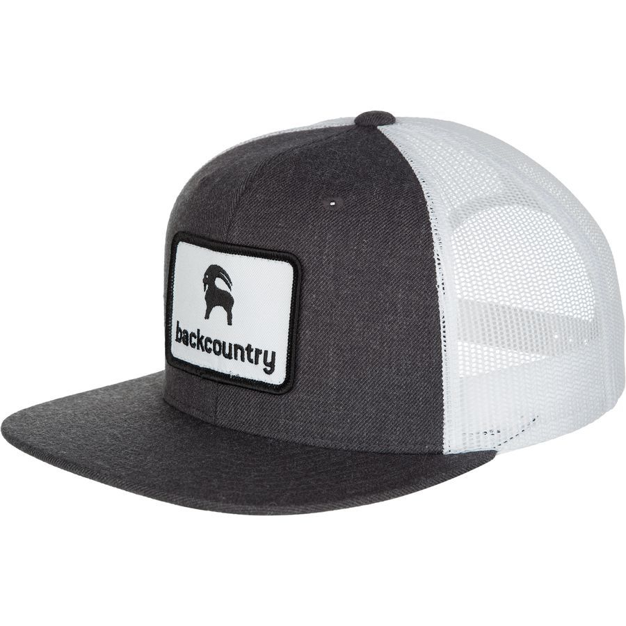 ce252d00 Backcountry - Flat Brim Patch Trucker Hat - Heather Charcoal & White