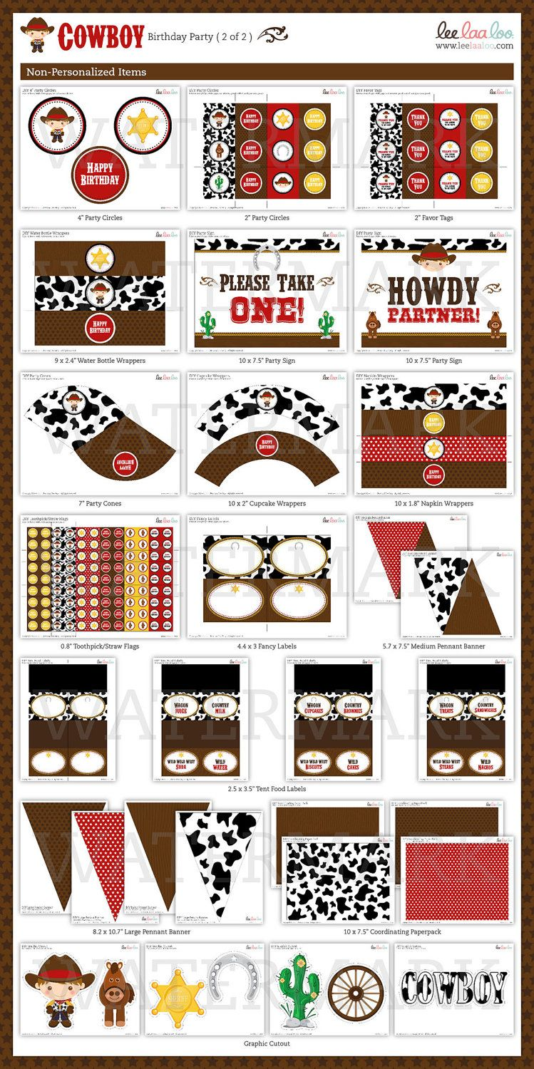 Howdy Western Cowboy Birthday Party Package by leelaaloo on Etsy, $35.00