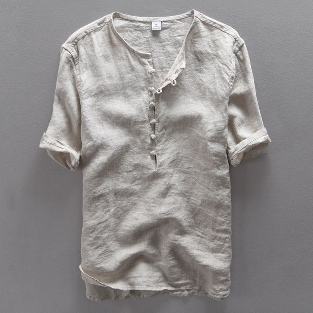 Mens Solid Casual Linen Breathable Fabric Collarless Shirt Short Sleeve T Shirt