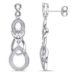 1/3 CT. T.W. Diamond Infinity Three Tier Teardrop Earrings in Sterling Silver - View All Jewelry - Gordon's Jewelers