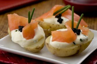 Salmon and caviar-topped potatoes | Woman's Weekly recipe recipe - goodtoknow