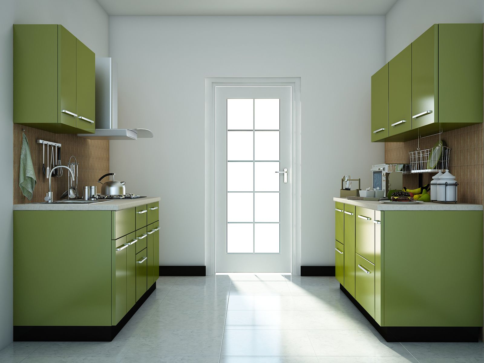 Green modular kitchen designs | Parallel shaped Modular kitchen ...