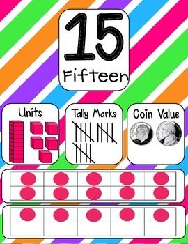 NUMBER POSTERS 0-20 AND COUNTING BY 5S AND 10S TO 100 WITH STRIPED BACKGROUND FREE!