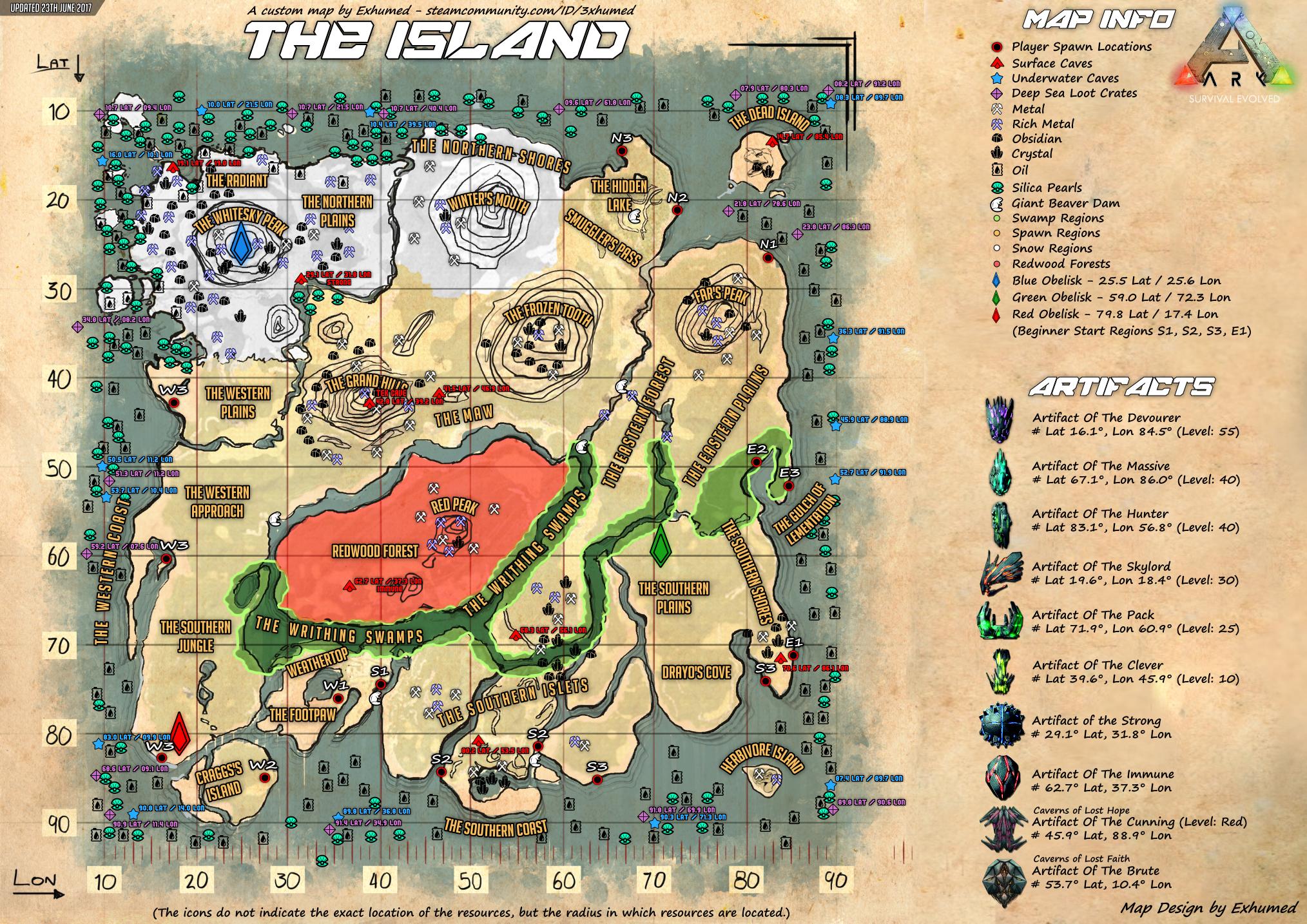 carte ark the island 38836C7BBEEAB6C72FA413F112F5C7698111512C (2028×1434) | Game ark