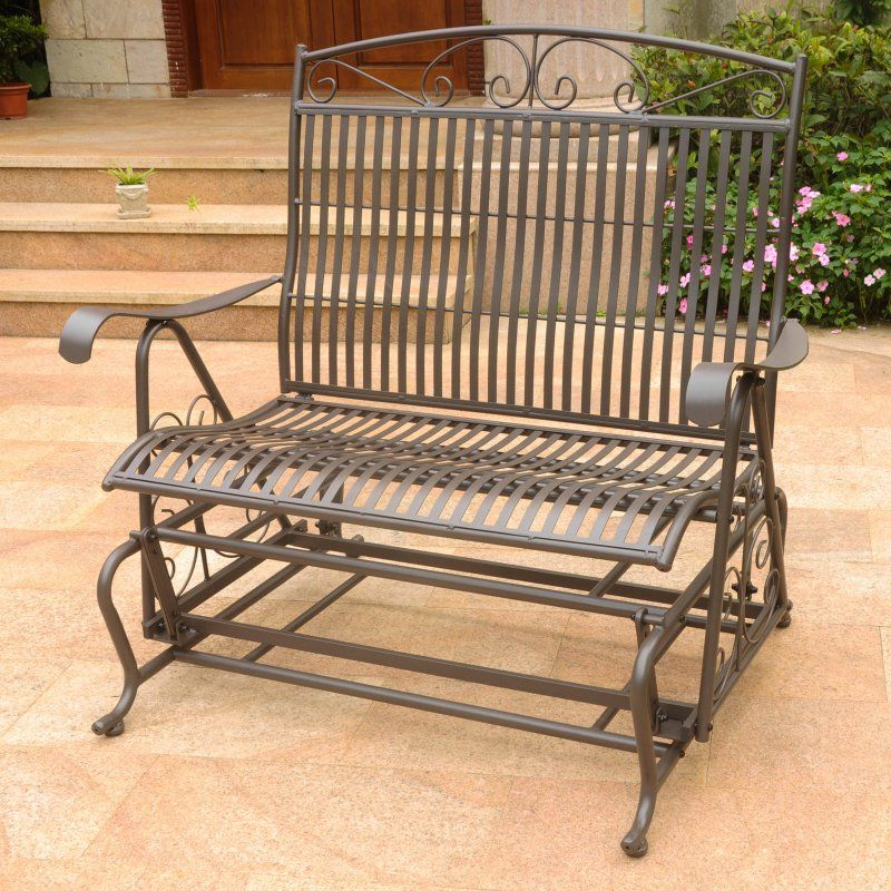 International Caravan Tropico 39 In. Iron Outdoor Glider Loveseat    3458 RT BN