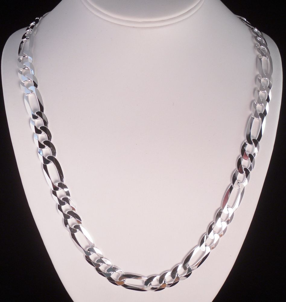 """ITALY 925 STERLING SILVER DIAMOND CUT FIGARO LINK CHAIN NECKLACE 24"""" REAL SILVER #AuthenticItalianTopQualityCraftsmanship #Chain"""