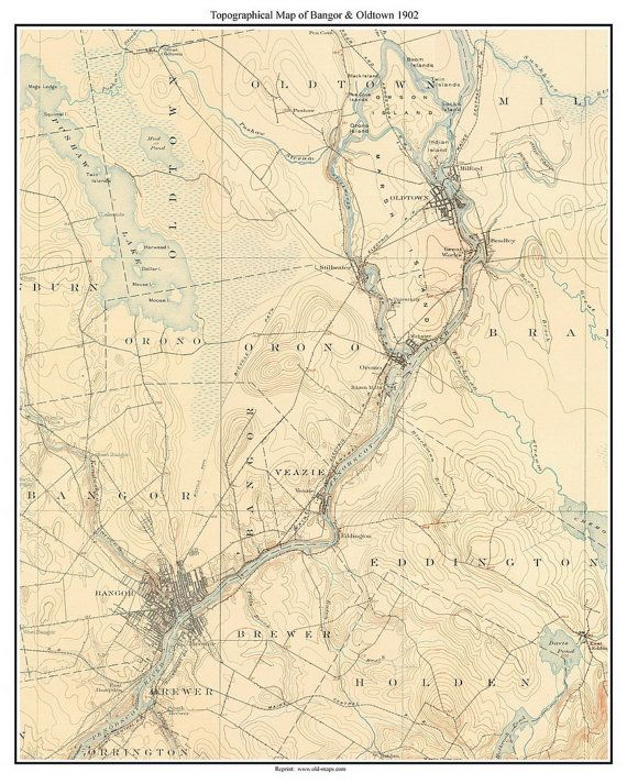 Topo Map Of Maine.Bangor And Oldtown 1902 Old Topographic Map Usgs Custom Maine Old