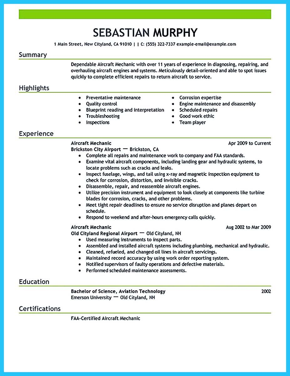 Aircraft Mechanic Resume Template If You Want To Propose A Job As An Airline Pilot You Need To Make