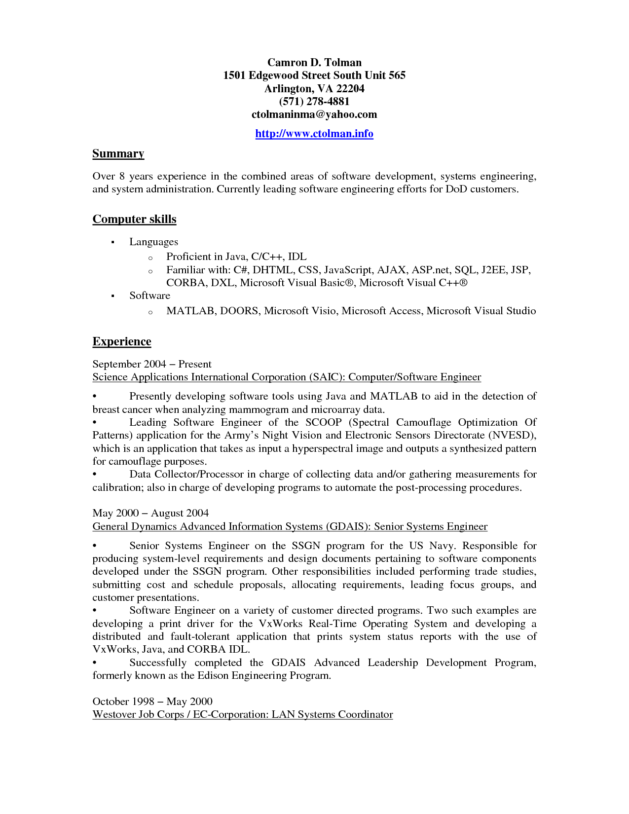 Resume Experience Example Computer Proficiency Resume Sample  Httpwwwresumecareer