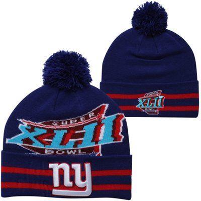 edb7e66f67e New Era New York Giants Super Bowl XLII Commemorative Super Wide Point Knit  Beanie - Royal Blue Red