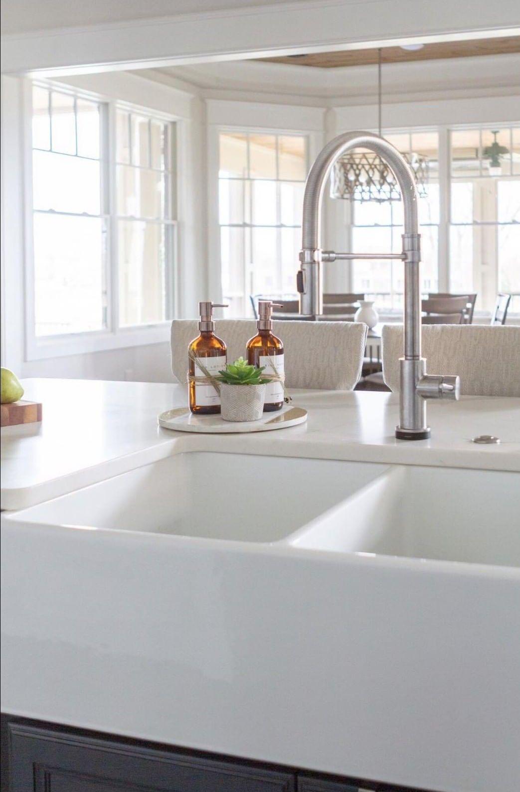 Amber Glass Soap Dispenser Bottles Kitchen Sink Decor Kitchen Renovation Design Kitchen Counter Decor