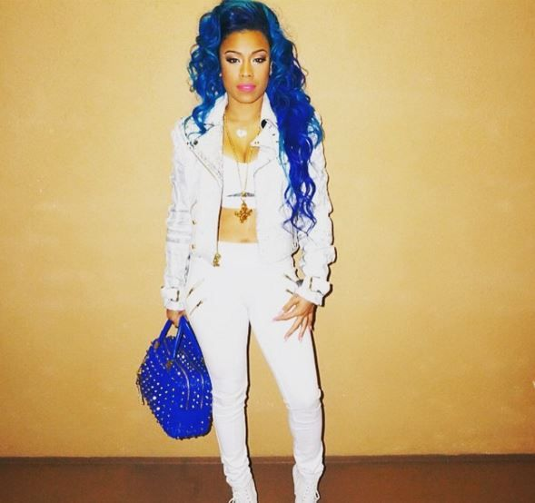 Keyshia Cole Blue Hair In 2019 Keyshia Cole Hairstyles