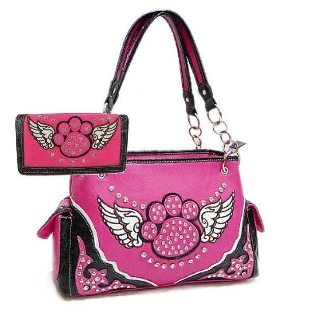 Womens Western Paws Paw Print Wings Dog Handbag Wallet Set Rhinestone Pink New Shoulderbag