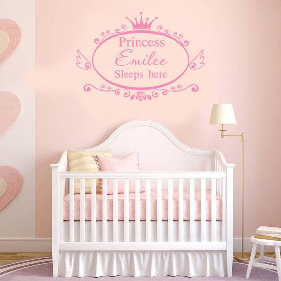 Wall Stickers Custom Baby Name Crown Flower Decal Removable Vinyl - Personalized custom vinyl wall decals for nursery
