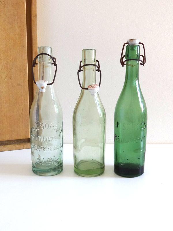 bouteilles de limonade anciennes en verre vert bouteilles de brasserie vintage cuisine et. Black Bedroom Furniture Sets. Home Design Ideas