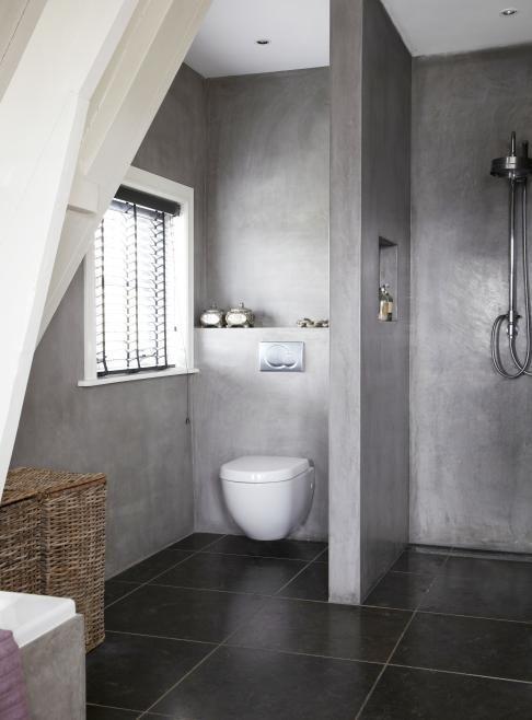 betonnen wanden in de badkamer | Boerderij Modern Interieur ...