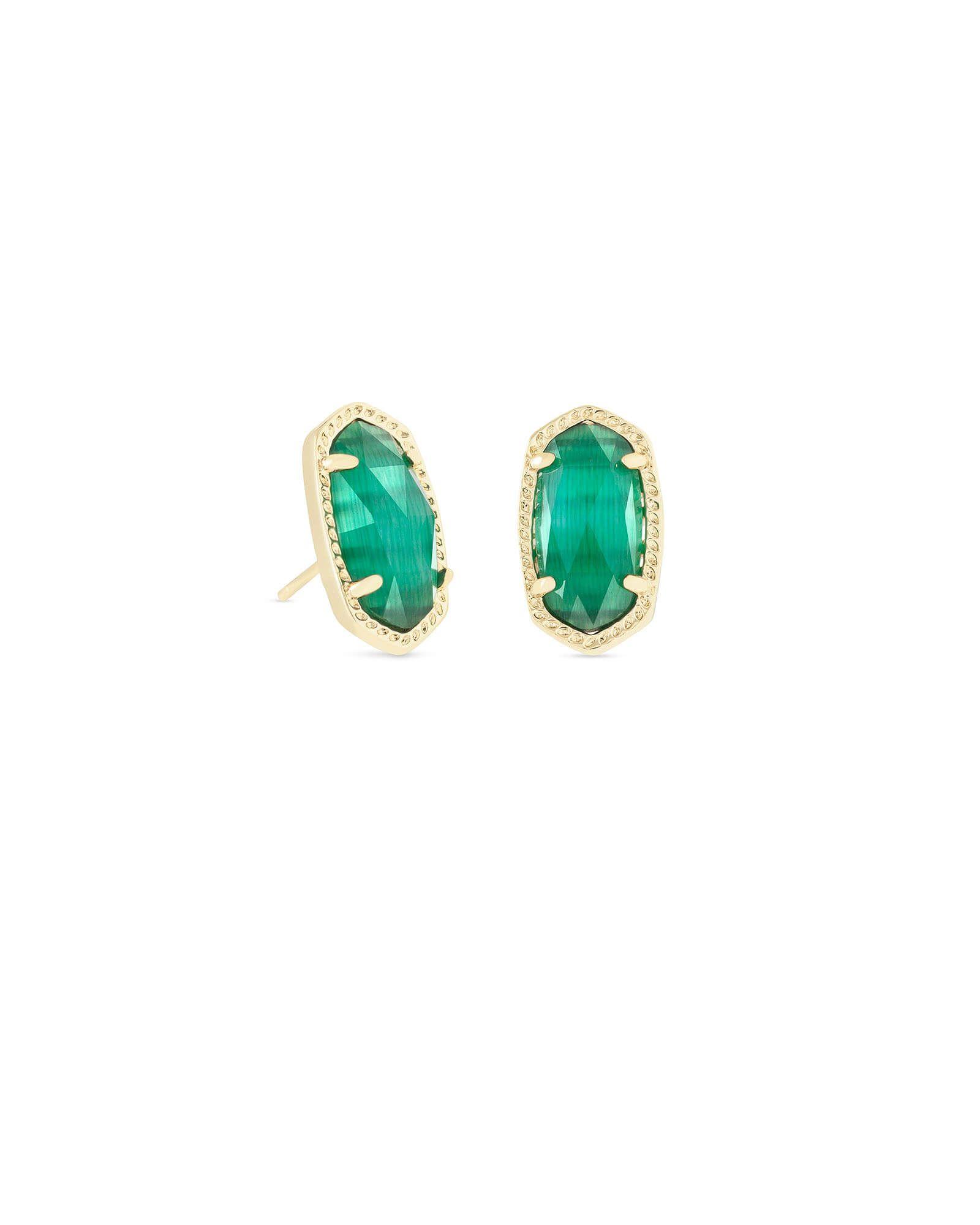 Ellie Gold Stud Earrings in Emerald Cats Eye Kendra