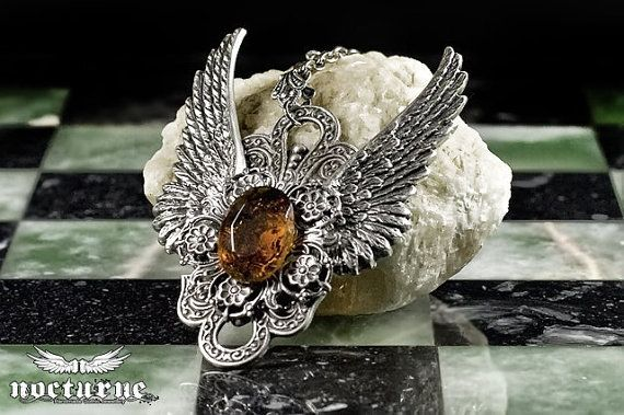 Steampunk Necklace Amber Gem and Angel Wings by NocturneHandcrafts