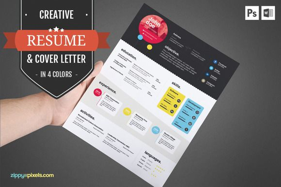 Creative CV Template  Cover Letter by ZippyPixels on